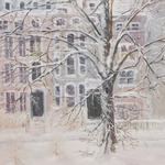 """COMMONWEALTH AVENUE"" Sitting by the window looking at a snowstorm raging in the Back Bay of Boston, MA.  Buildings blurred in the snow at twilight, the ancient tree creaked in the wind... fireplace & cocoa warm the soul Original oil - 24""W X 30""H       $1600. Giclee on canvas                   $595"
