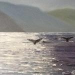 """Whale Tails"" Watching from a small boat, the incredible sight of whales feeding and playing in the cold waters of Alaska.  Sunlight sprinkled through the haze to make an incredible scene remembered in this painting. Original $700       Giclee on canvas -11""H X 14""W  -$295"
