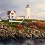 """Nubble Light""  This lighthouse in York Beach in Maine is well known by native Yankees, photographers, bathers and lovers.  A serene autumn day on the chilly coast after summer's over. Original privately owned. Giclee on canvas  - 20""W X 16""H  -                 $295"
