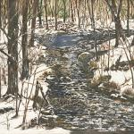 """WINTER STREAM""   A walk with the dog through the woods just before spring led to this snowy painting of the melting waters rushing to the river amid the still trees.   Oil on canvas - 27.5""W X 23""H -  $1600. Giclee on canvas                      $595."